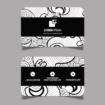 Hand Drawn Black and White pattern Visiting Card