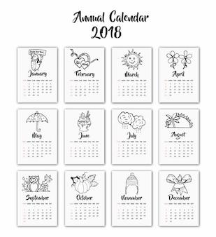 手描きの白黒季節カレンダー2018