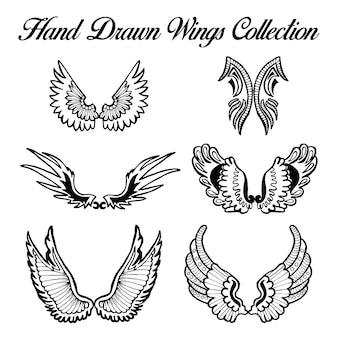 Коллекция рисованных черных и белых крыльев