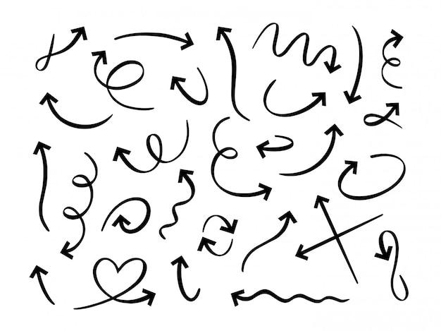 手描きの黒い矢印。曲線の落書き矢印、スケッチポインターライン、落書きセット。丸いツイストナビゲーションサイン。方向矢印、モーションポインター線形アイコンパック白い背景の上