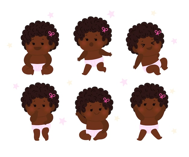 Hand drawn black baby collection