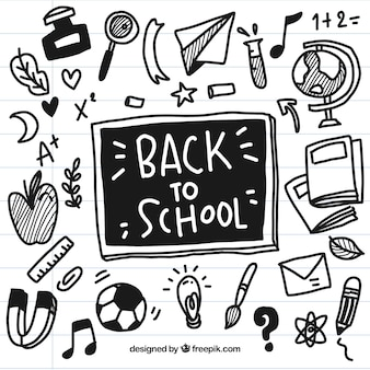 Hand drawn black back to school elements