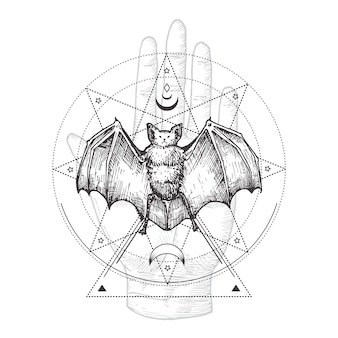 Hand drawn black bat and palm hand sketch illustration