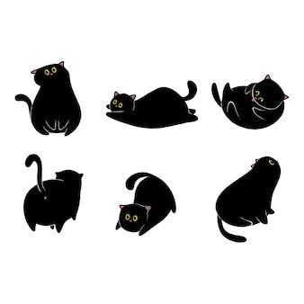 Коллекция рисованной черной кошки