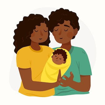 Hand drawn black family with a baby