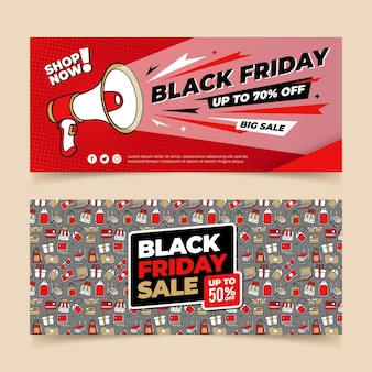 Hand drawn black friday banners template