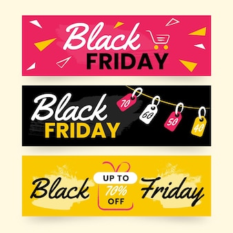Hand drawn black friday banners