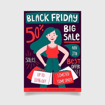 Hand drawn black friday flyer template