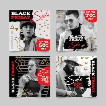 Коллекция рисованной черной пятницы instagram