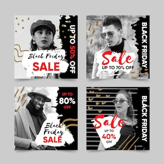 Hand drawn black friday instagram posts pack