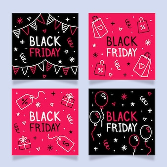 Hand drawn black friday instagram posts