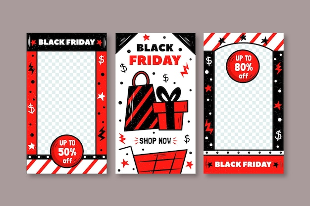 Hand drawn black friday instagram stories