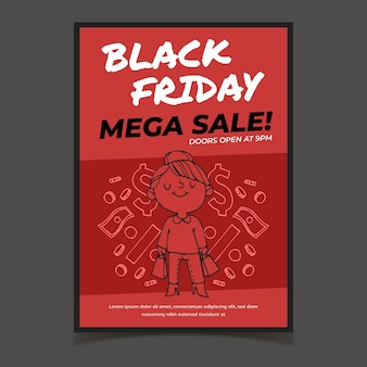 Hand drawn black friday poster