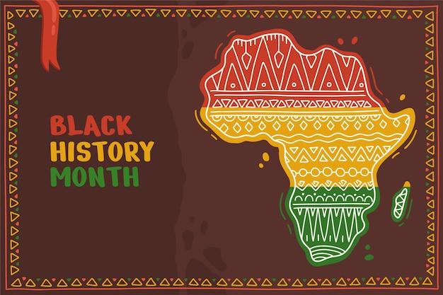 Sfondo del mese di storia nero disegnato a mano