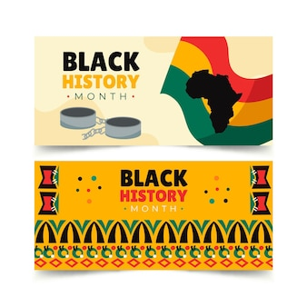 Hand drawn black history month horizontal banners set