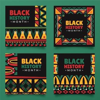 Collezione di post di instagram del mese di storia nera disegnata a mano