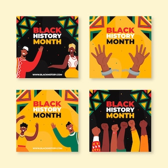 Hand drawn black history month instagram posts collection