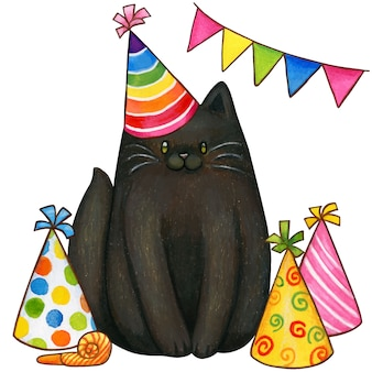 Hand drawn black kitten colorful party