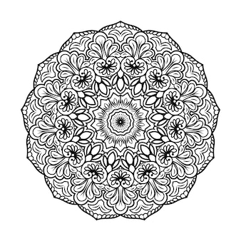 Hand drawn black mandala coloring book page for kids and adult premium vector, seamless pattern