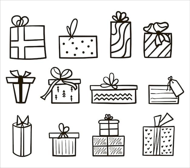 白い背景の上のクリスマスと新年のギフトボックスの手描きの黒いアウトラインセット。プレゼントコレクションのベクトルイラスト。漫画のスタイルで弓とアイコンの贈り物を落書き