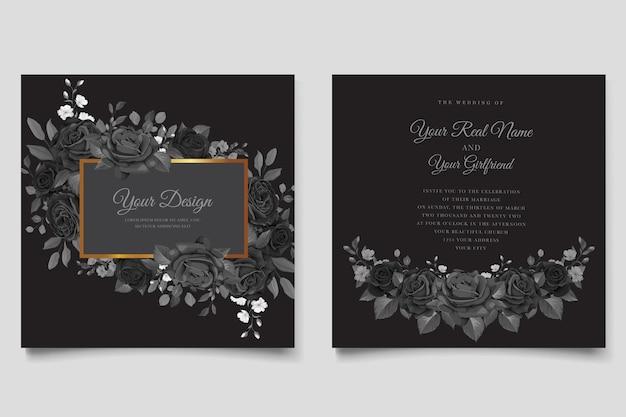 手描きの黒いバラの招待カード 無料ベクター