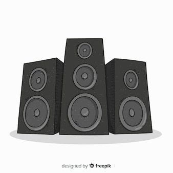 Hand drawn black speaker background