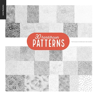 Hand drawn black and white 30 patterns set