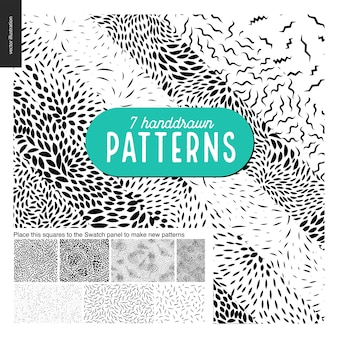 Hand drawn black and white 7 patterns set