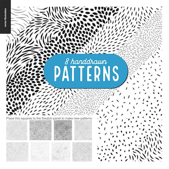 Hand drawn black and white 8 patterns set