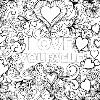 Hand drawn black & white adult coloring background