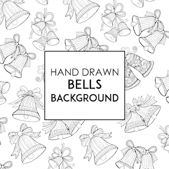 Hand drawn black & white bells background
