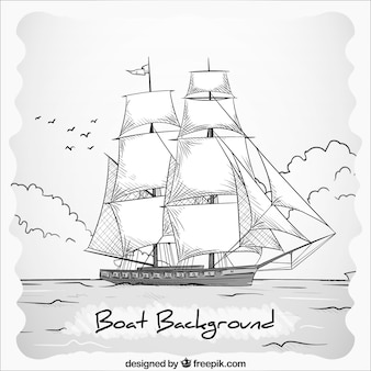 Hand drawn black and white boat background