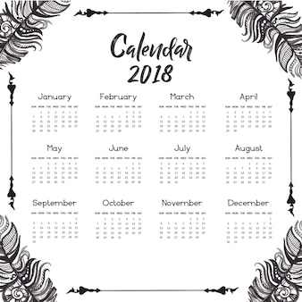 Hand drawn black and white feather calendar 2018