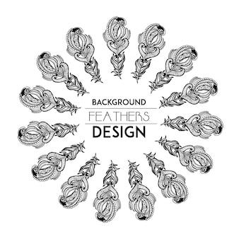 Anello di piuma in bianco e nero disegnato a mano