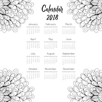 Disegnato a mano in bianco e nero calendario floreale 2018