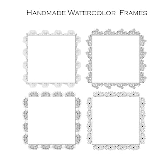 Hand drawn black and white floral frame design