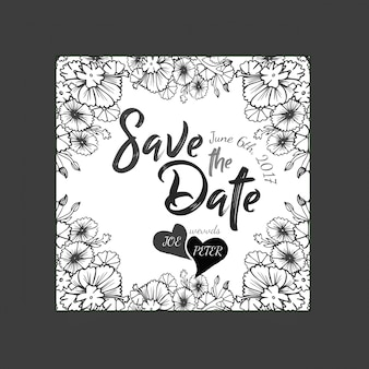 Hand drawn black and white floral wedding invitation card