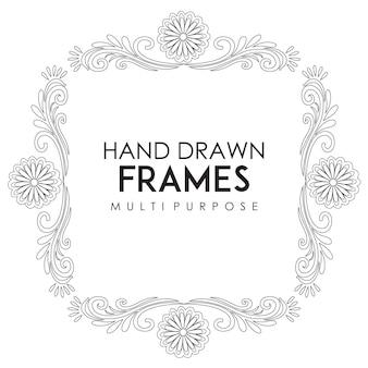 Hand drawn black and white frame multipurpose