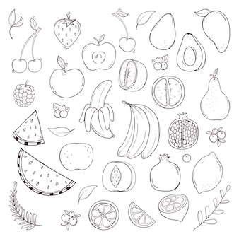 Hand drawn black and white fruits and berries set