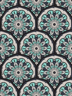 Hand drawn black white mandala seamless pattern