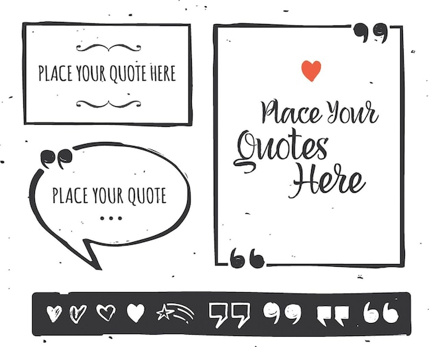 Hand drawn black and white quotes set with selection of graphic elements