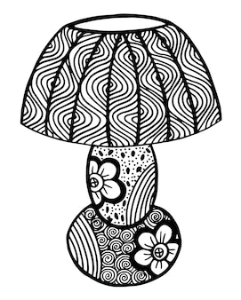 Hand drawn black and white retro table lamp illustration
