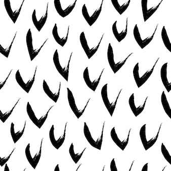 Hand drawn black and white seamless pattern in grunge style.