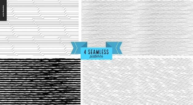Hand drawn black, white seamless pattern monochrome set