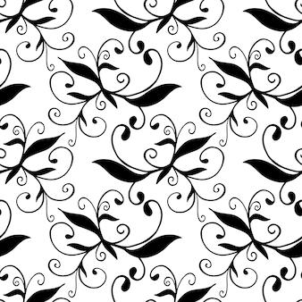 Hand drawn black and white seamless pattern