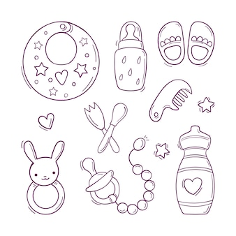 Hand drawn black and white set of toys and accessories for baby