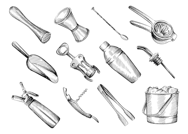 Hand drawn black and white sketch set of bar inventory.