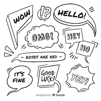 Hand drawn black and white speech bubbles