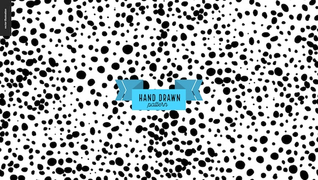 Hand drawn black and white stains pattern background