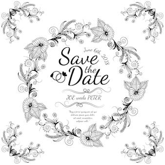 Hand drawn black and white wreath wedding card